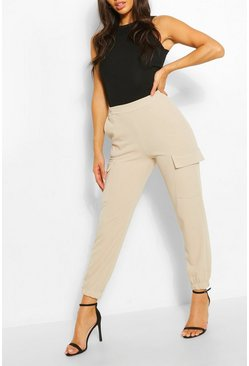 Stone beige Cargo Pocket Tailored Pants