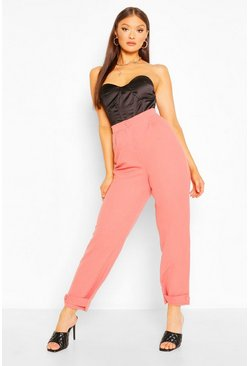 Candy pink pink Button Cuff Tapered Pants