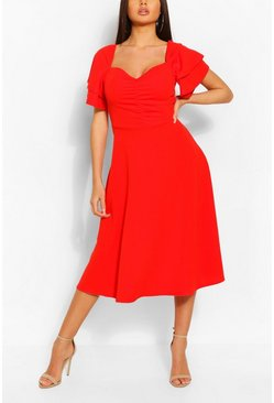 Red Double Ruffle Sleeve Ruched Bust Skater Dress