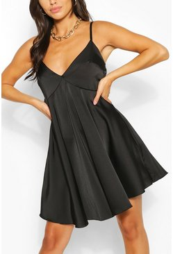 Black Satin Strappy Swing Dress