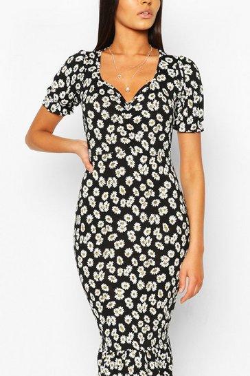 Black Daisy Print Ruched Frill Hem Midi Dress