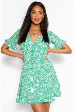 Green Ditsy Floral Ruffle Front Tea Dress