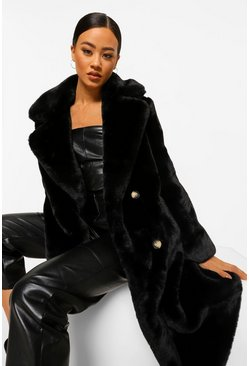 Black Plush Faux Fur Double Breasted Coat