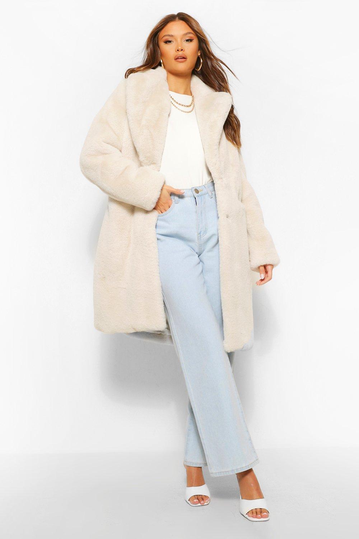 COATS & JACKETS Plush Faux Fur Coat