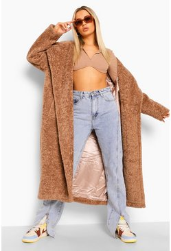 Biscuit beige Luxe Textured Teddy Faux Fur Oversized Maxi Coat