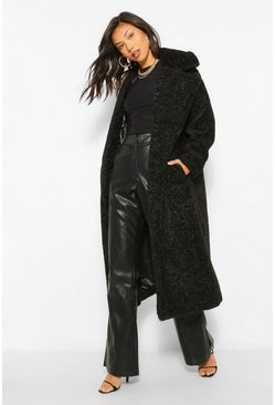 Black Luxe Textured Teddy Faux Fur Oversized Maxi Coat