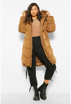 Tobacco brown Longline Faux Fur Trim Quilt Puffer