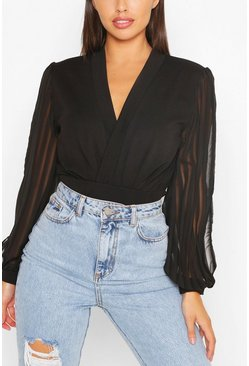 Black Wrap Stripe Chiffon Bodysuit