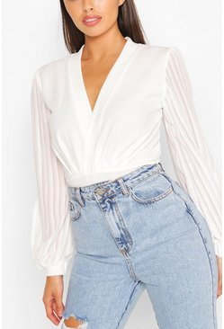 White Wrap Stripe Chiffon Bodysuit