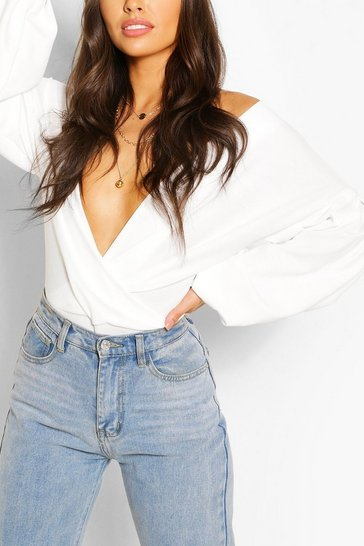 Ivory white White Crepe Off Shoulder Wrap Bodysuit