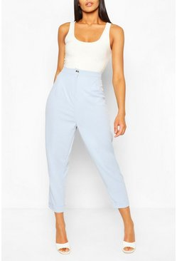 Light blue blue Turn Up Cuff Tailored Pants
