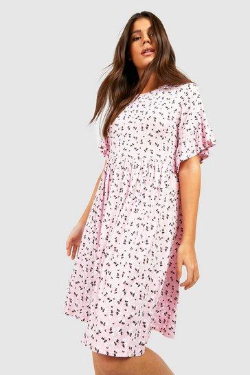 Pink Ditsy Floral Smock Dress