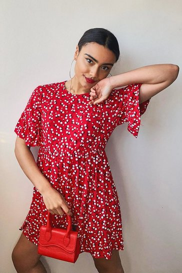 Red Ditsy Floral Smock Dress