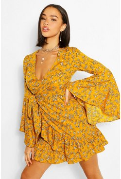 Mustard Woven Tie Detail Waterfall Sleeve Skater Dress