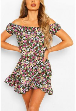 Black Cap Sleeve Floral Swing Dress