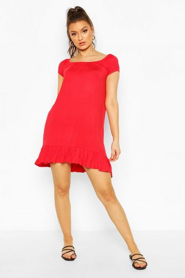 Red Cap Sleeve Swing Dress