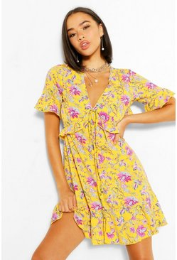 Mustard yellow Floral Ruffle Front Tea Dress