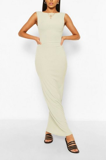 Sage green Scoop Back Rib Maxi Dress