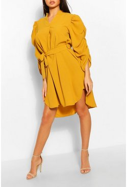 Mustard Puff Sleeve Belted Shift Dress