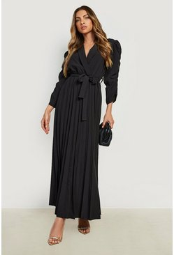 Black Puff Sleeve Pleated Skirt Midi Dress