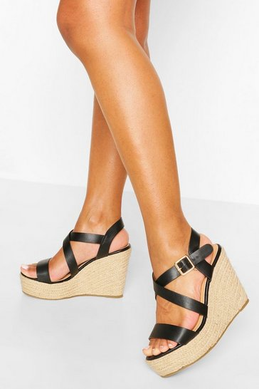 Black Multi Strap Espadrille Wedges