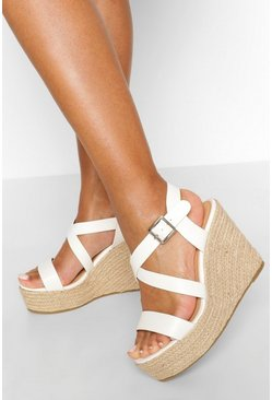 White Multi Strap Espadrille Wedges