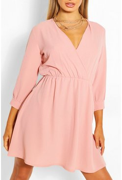 Blush pink Woven Wrap Skater Dress