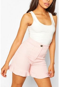Baby pink pink Ruffle Hem Tailored Short