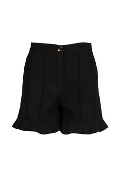 Black Ruffle Hem Tailored Short