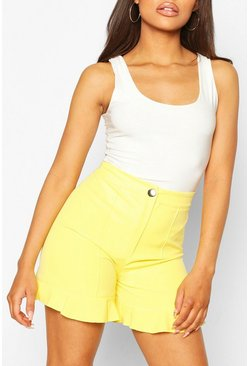 Yellow Ruffle Hem Tailored Short
