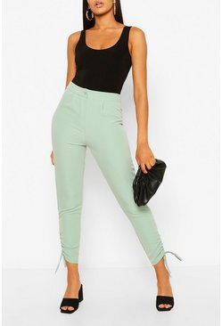 Sage green Ruched Cuff Dress Pants