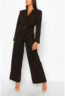 Black Turn Up Wide Leg Tailored Trousers