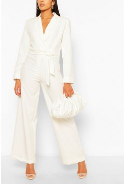 White Turn Up Wide Leg Tailored Trousers