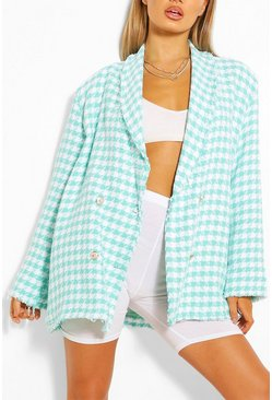 Aqua Dogtooth Woven Double Breasted Boxy Blazer