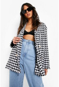 Black Dogtooth Woven Double Breasted Boxy Blazer