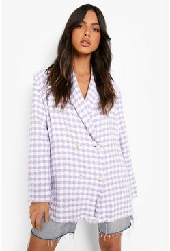 Lilac purple Dogtooth Woven Double Breasted Boxy Blazer