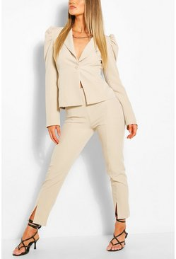 Stone Cropped Split Hem Tailored Trousers