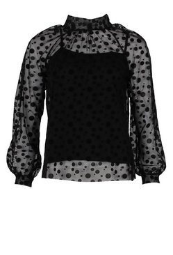 Black Mesh Polka Dot Bow Detail Blouse