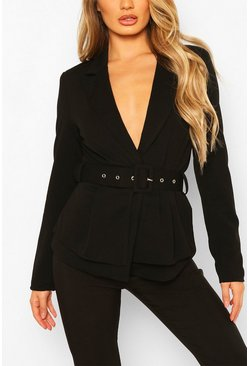 Black Self Belt Peplum Blazer