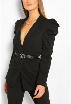Black Puff Sleeve Faux Leather Belted Blazer