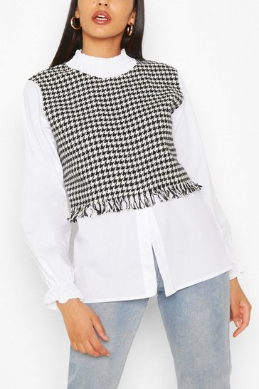 White Shirred Neck Dogtooth Layered Cotton Blouse