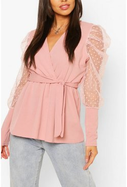 Rose pink Dobby Sleeve Wrap Neckline Blouse
