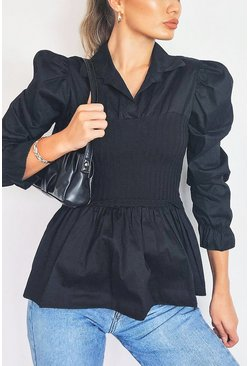 Black Puff Sleeve Cotton Rib Waist Shirt
