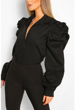 Black Cotton Extreme Sleeve Shirt