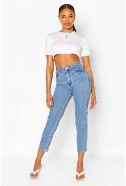 Mid blue High Rise Classic Mom Jean