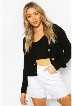 Black Cardigan & Bralet Knitted Co-Ord