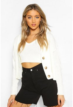 Ecru white Cardigan & Bralet Knitted Two-Piece