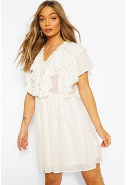 Cream white Dobby Lace Detail Extreme Ruffle Skater Dress