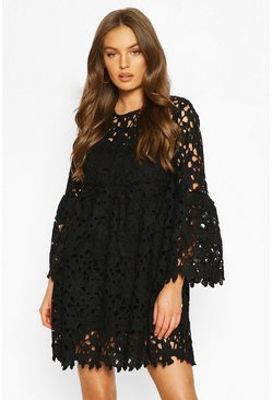 Black Heavy Lace Flare Sleeve Smock Dress