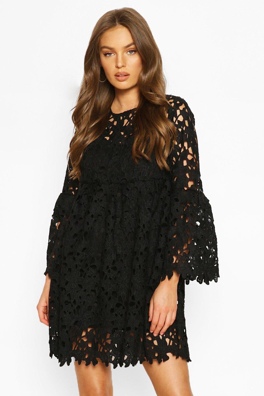 SALE Heavy Lace Flare Sleeve Smock Dress
